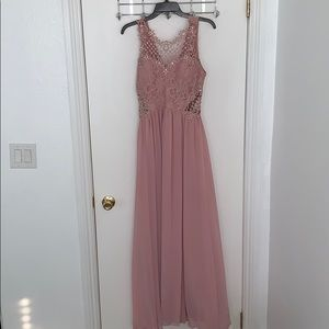 Lace/Rhinestone Long Pink Dress!! 👗